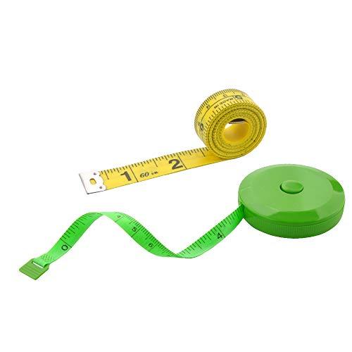 WINTAPE 2PCS Maßband für Körper, weiches Maßband für Körper Nähen Stoff Tailor Cloth Craft Messung Tape,60 Zoll/1.5M Rosa einziehbares doppelseitiges Maßband (Grün)