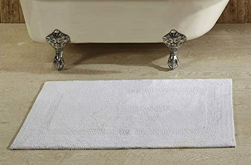 Better Trends Lux Collection in Race Track Pattern 100% Cotton Reversible Bath Mat Rug, 24' x 40', White