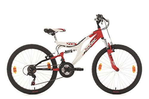 KS Cycling Kinderfahrrad Mountainbike Fully 24'' Zodiac rot-weiß RH 38 cm