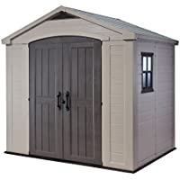 Keter -  Caseta de jardín exterior Factor 8x6 con escuadra incluida, Color marrón / Beige