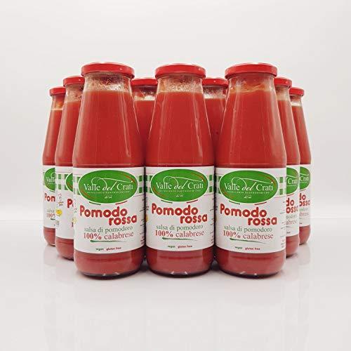 12 Bottiglie Salsa Di Pomodoro Calabrese Naturale Italiano Valle Del Crati Passata Di Pomodori Senza Glutine Prodotto Vegano Ideale Per Sugo e Condimenti Pronta in 5 Minuti Vetro Da 720 Ml