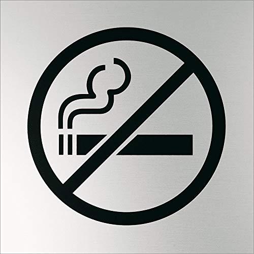 LEMAX® Schild Eloxa Sign Rauchen verboten, silbermatt eloxiertes Aluminium selbstklebend 200x200mm (Rauchverbot, Verbotsschild) praxisbewährt, wetterfest
