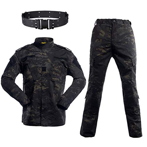 SGOYH Herren Combat BDU Uniform Jacken Shirt & Hosen Taktisch Airsoft Paintball Camo-Anzug mit Gürtel für Jagd Schießen Kriegsspiel Armee Militär Paintball Airsoft
