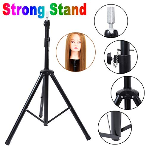 Metal Adjustable Tripod Stand Holder Mannequin Manikin Head Tripod for Hairdressing Cosmetology Enhanced Version Training Head Wig Stand with Carry Bag
