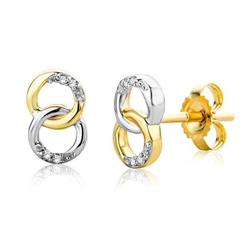 Miore Women's Earrings links in white and yellow gold 9 Carat (375) with Diamonds