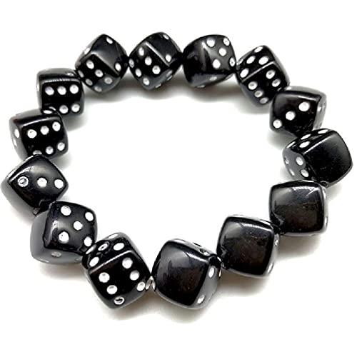 Colorido acrílico dados perlas estiramiento pulseras divertido juego Lucky Dice pulseras mujeres moda joyería encanto pulsera haciendo kit