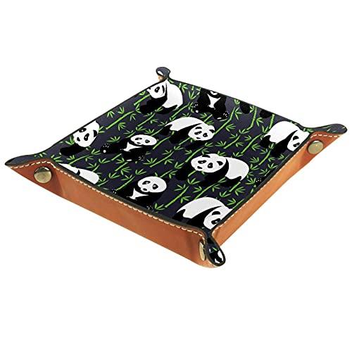 FURINKAZAN Bandeja de almacenamiento para cambiar la mesita de noche, diseño de panda y bambú