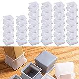 32 pezzi di mobili di protezione in silicone per protezioni antigraffio per sedie e tavoli, tappi per gambe di sedie, piedini per gambe in silicone (Bianco quadrato)