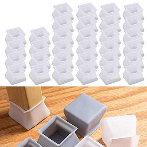 32 fundas de protección de silicona para muebles para sillas y mesas de piso, protectores de arañazos, tapas de patas de silla, almohadillas de silicona para pies, redondas y cuadradas.