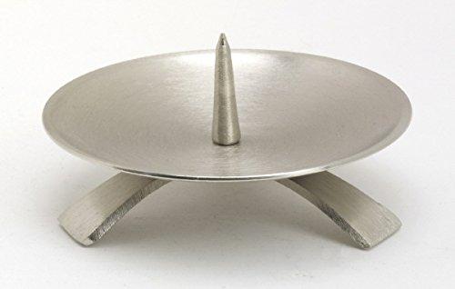 Hochzeitskerzenhalter Dreifuß Silber gebürstet großem Dorn Ø 11,5 cm für Hochzeitskerzen