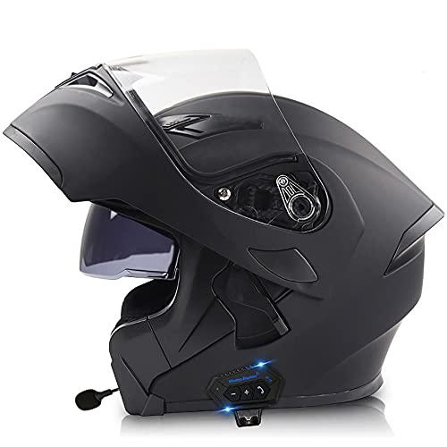 COKECO Casco De Moto Modular Bluetooth Integrado,Casco Anticolisión con Doble Visera Antivaho ECE/Dot Aprobado A Prueba De Viento Hombres Y Mujeres Adultos 57~64CM