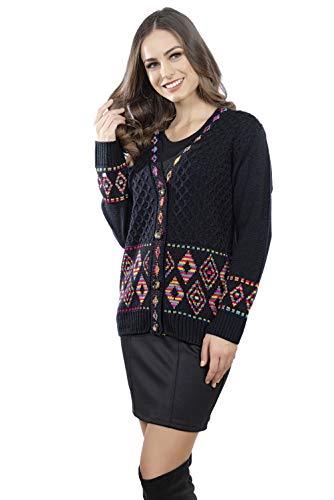 Suéter Loana con Motivo de Rombos Multicolor y Botones Mnaga Larga para Mujer (Negro)