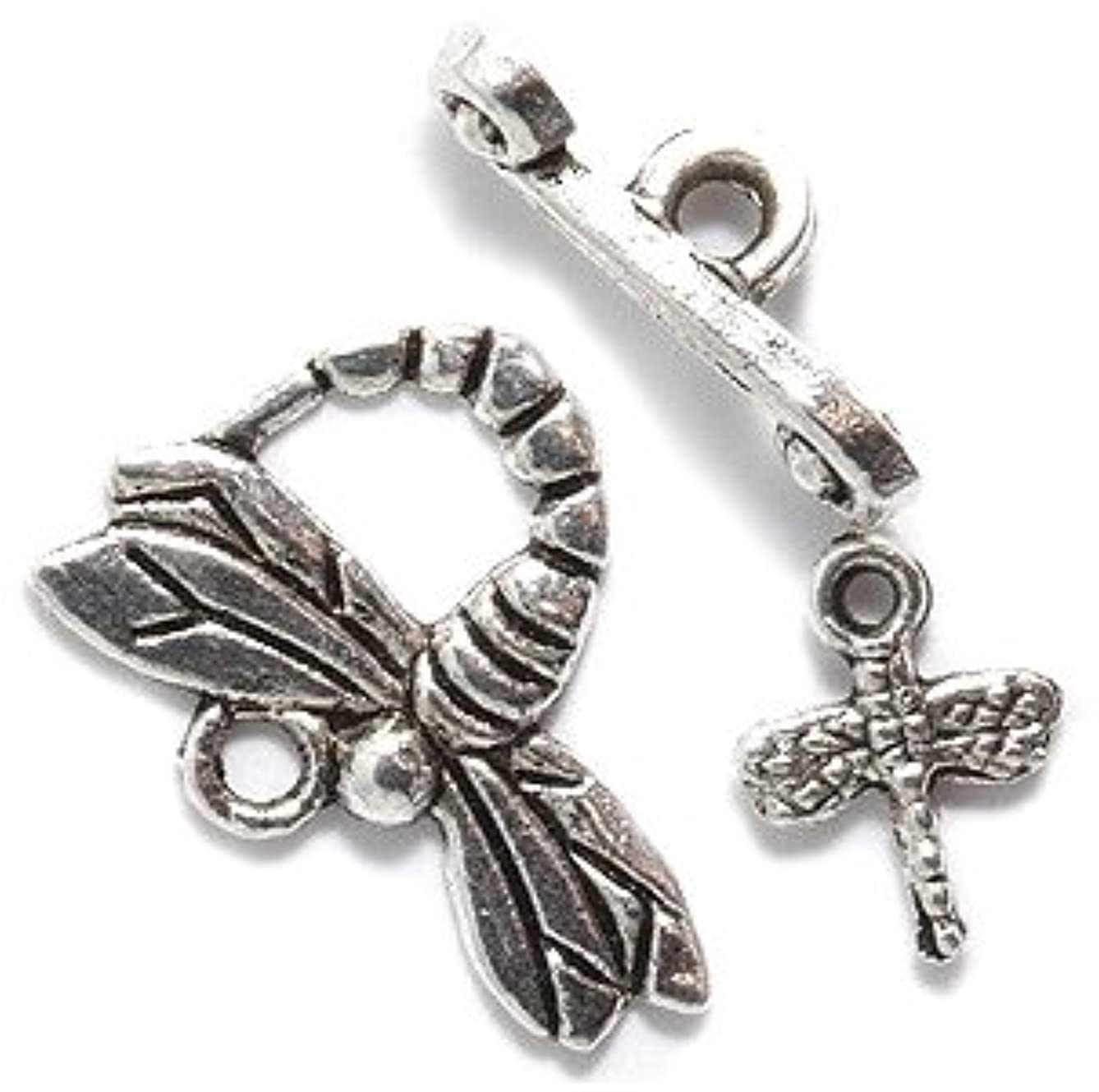 Shipwreck Beads Zinc Alloy Toggle Clasp with Charm, Dragonfly, 20mm, Silver, 15-Pack