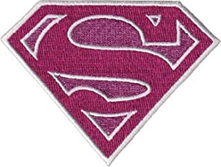 Supergirl - Pink Glittery Shield Logo - Embroidered Iron On or Sew On Patch/Badge