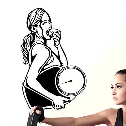 Muursticker auto gewicht minder Gym Sticker Fitness weegschalen meisje Sticker Posters Vinyl muurstickers Decor muurschildering 37X58Cm