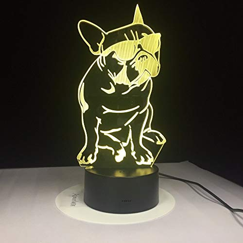 Sanzangtang Led-nachtlampje, 3D-visionzeven, kleuren-afstandsbediening, Frans Dog & Night Light Dog decoratieve verlichting, verkleuring, acryl, licht, cadeau voor hondenglasvezel nachtlampje