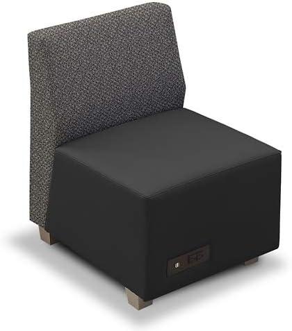 Compass Armless Lounge Chair Iron 新着セール Black Fabric Back Polyurethane 新作通販