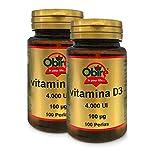 Obire | Vitamina D3 100 mcg. (4000 U.I) 100 Perlas (Pack 2 unid.)