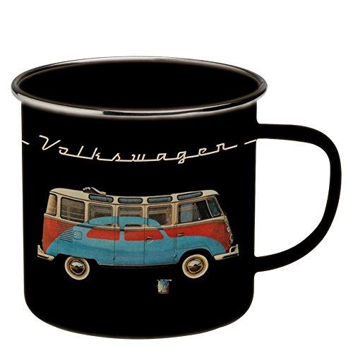 BRISA VW Collection Volkswagen VW T1 Bulli Bus Kaffeetasse emailliert schwarz mit rot-Blauem Bulli/Käfer Motiv