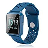 "HAPPINNO 1.3""Fitness Tracker for Women Men Kids(3 Colors),with Blood Pressure Heart Rate Sleep Monitor,Pedometer,Calorie Counter,IP67 Waterproof Smartwatch for Boys Girls (Blue)"
