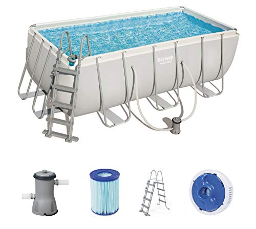 Best Way Piscina Power Steel Frame Rettangolare Cm. 412X201X122, cap. 8,124, 8124 Litri, 412x201x122 cm