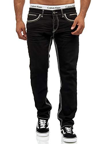 OneRedox Herren Jeans Denim Regular Fit Used Design Modell 5166 (30/32, 5180 Black)