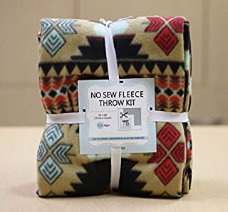 Southwest Aztec No-Sew Throw Fleece Fabric Kit (50x60)