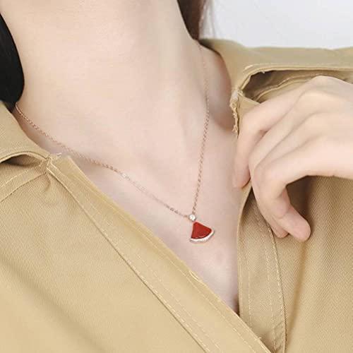 GYUFU Collar de Regalo para Mujer S925 Collar de Falda Pequeña de Personalidad Simple de Plata Esterlina, Cadena de Clavícula Femenina en Forma de Abanico, Collarrojo, Plata 925
