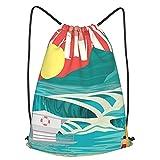 Mochila Con Cordones Unisex,Hawaii Sandy Coastline Sunny Day Surfboard Tropics Famoso destino de luna de miel,Bolso con Cordón Impermeable para Nadar/Surfear/Viajar/Hacer Senderismo/Yoga/Deportes