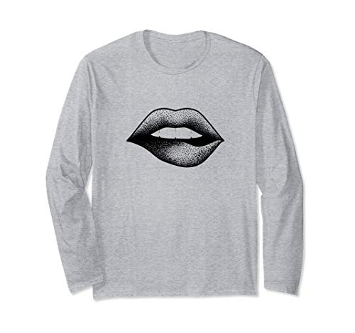 Dotwork Tattoo Style Mund Lippen Lips Langarmshirt