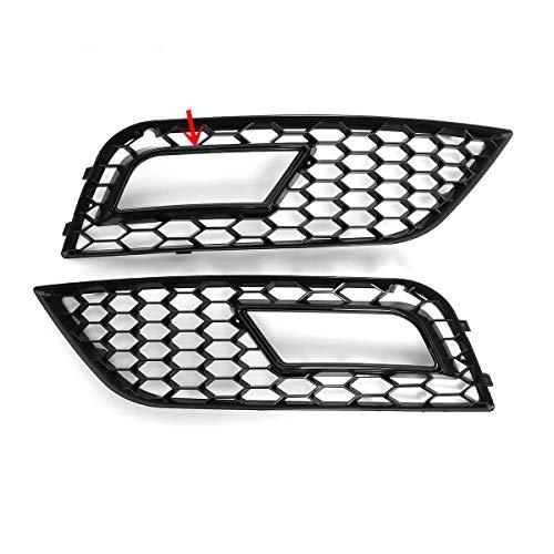 Niebla Luz Radiador Grúa, Funda para Audi A4 B 8.5 2013-2016 Lámpara de Niebla Barbacoa 2X RS4 Estilo Glossy Black Honeycomb Malla Parachoques Delantero,Negro