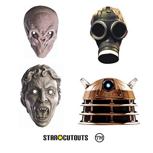 Star Cutouts Ltd SMP436 Doctor Who Gesichtsmasken aus Karton, für Feinde und ultimative Baddies, 2 x Dalek, Weeping Angel, leeres Kind, stille Gesprächsstelle für Partys, mehrfarbig