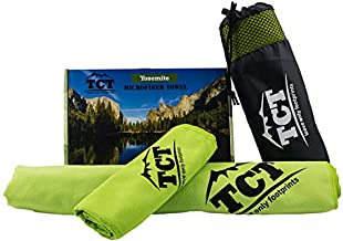 Camping Towel Set - Quick Drying Super Absorbent Lightweight Ultra Soft Microfiber. Easy to Pack, Best for Hiking Backpacking and Ultralight Use. Includes 1 Large and 1 Small Towel Plus Carry Bag