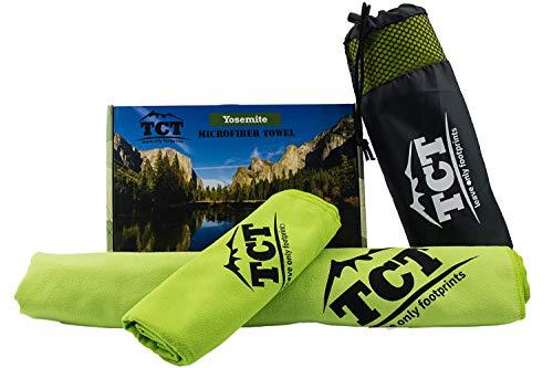 Juego de toallas de microfibra de The Camping Trail. Es una toalla de secado rápido al aire libre que es súper absorbente, antibacteriana y ligera. Viene con una malla y garantía de por vida