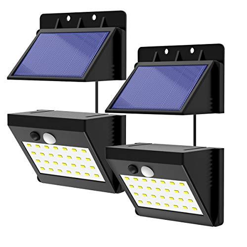 Solarleuchten für Außen NATPOW Solarlampen Solar Bewegungsmelder Außen 28 LED Wasserdichtes Solarlicht für Garten 3-Modi 2 Stück