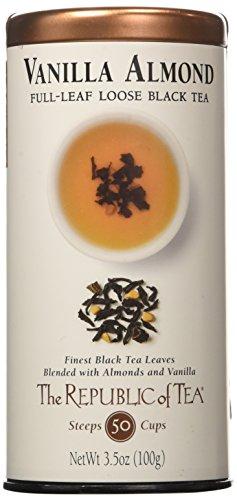 The Republic of Tea Premium Full-Leaf Black Tea, 3.5 Ounces / 50-60 Cups, Vanilla Almond