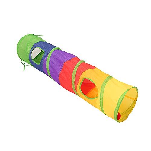 Túnel para gatos y perros, juguete colorido para gatos, kit para mascotas, túnel plegable, 2 orificios para jugar, tubo, bola, pluma, forma de ratón, mascota, gatito,...