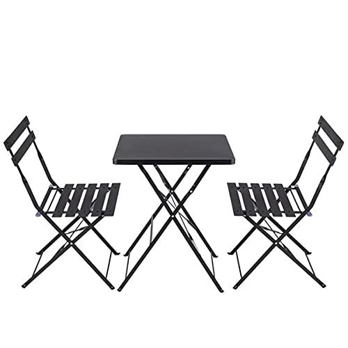 COSCANA Conjuntos De Muebles De Jardín De Arte De Hierro Plegable 3 Piezas Bistro Plegable 1 Mesa 2 Sillas Set para Patio Patio Patio Porche Césped Balcón(Color:Blanco)