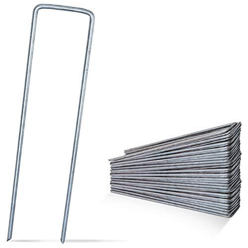 DAWIDU Anti Rost Erdanker Bodenanker - 50 x Erdanker verzinkt - 150mm lang x 30mm breit - Ø 3mm - Stabile & sichere Befestigung für Unkrautvlies Gartenvlies, Zaun & Camping Zelt - Silber