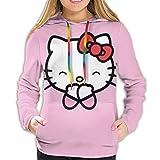 Hello Kitty - Sudadera con capucha para mujer con bolsillo frontal, estampado 3D con cordón, tallas S-XXL