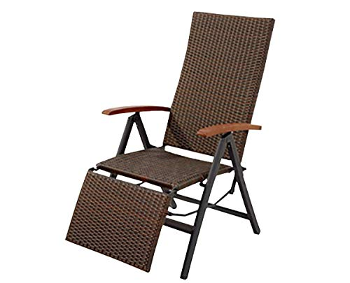 Geflecht Gartenliege Relaxsessel Garten Stuhl Liege Sonnenliege B Ware 2. Wahl Braun