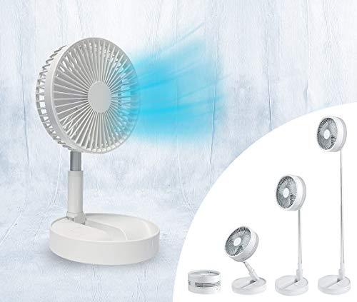 Livington Fold & Cold – ausziehbarer Mini Ventilator mit Akku – kraftvoller USB Ventilator mit 10h Laufzeit – flexibler Stand- und Tisch Ventilator - bis zu 1 m Höhe ausziehbar