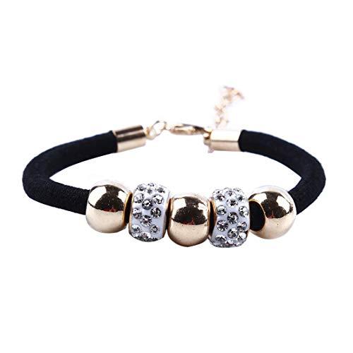 #N/A Pulsera de cuentas de cristal ajustable elegante Boho cuerda pulsera de cadena para mujeres y niñas, regalo de cumpleaños