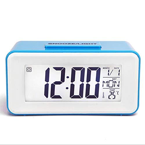 H HANSEL HOME Reloj Despertador Digital Azul de mesilla con Pantalla LCD Digital, Alarma con Temperatura y Calendario incluidos, con Diferentes Tipos de melodías para Despertar(Azul)
