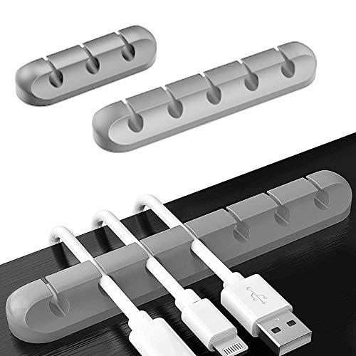ATUIO - Organizador Clips de Cables, Clips para Cables de Escritorio, [Paquete de 3] [3 + 5 + 7 Ranuras], Clips de Cables Autoadhesivos Fuertes de Silicona para Cable de Cargador USB, [Gris]
