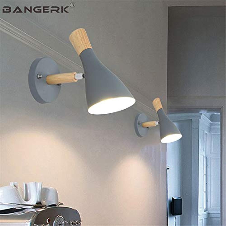 Nordic Design Wandleuchte Wandleuchten LED Moderne Schlafzimmer Zugschalter Nachtwandleuchte Holz Eisen Loft Home Decor Leuchten, Zugschalter grün
