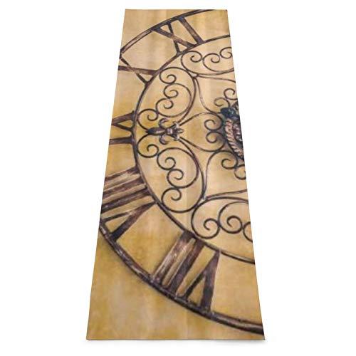 LOSUMIGE Esterilla Yoga Números romanos de acero antiguo reloj vintage Colchonetas de ejercicio Pilates para entrenamiento en casa Gimnasio Fitness Meditación Alfombra