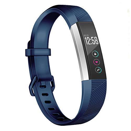 Wekin Kompatibel für Fitbit Alta/Alta Hr Strap, Ersatz Armband Alta Hr Verstellbares Soft-Silikon Sport Armband Große Kleine Herren Damen … (Navyblue, S)
