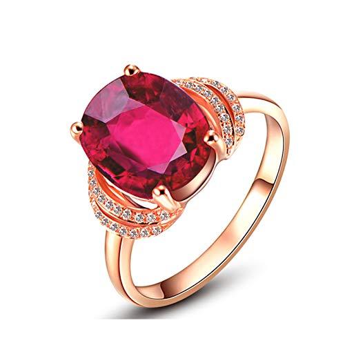 Epinki Oro de 18 Quilates Anillos Oval Forma Mujeres Anillo de Diamante Anillo de Confianza Oro Rose con 3.65ct Rojo Tourmaline Talla 15