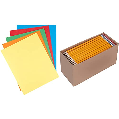 Amazon Basics Twin Pocket File Folders with Fasteners, 25-Pack & Woodcased #2 Pencils, Pre-sharpened, HB Lead - Box of 150, Bulk Box